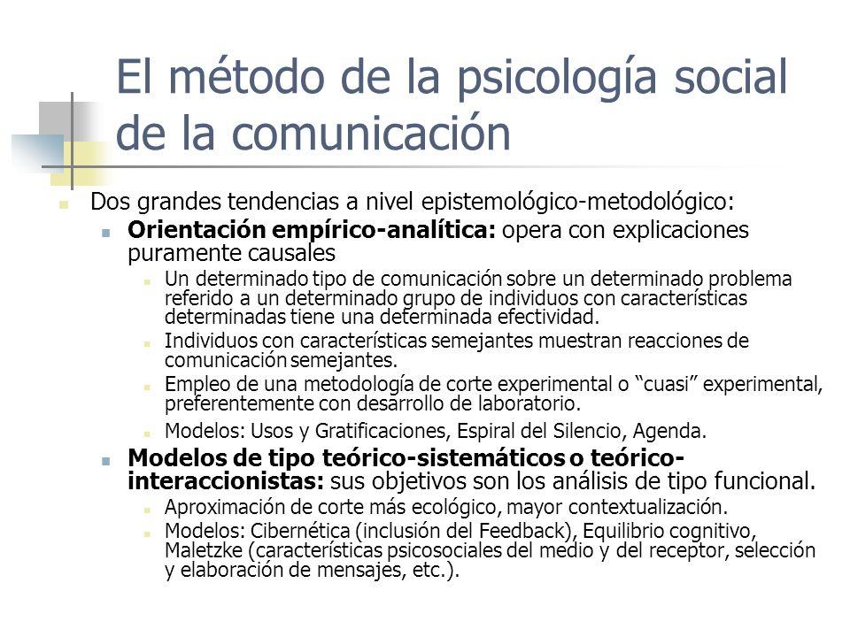 El método de la psicología social de la comunicación Dos grandes tendencias a nivel epistemológico-metodológico: Orientación empírico-analítica: opera
