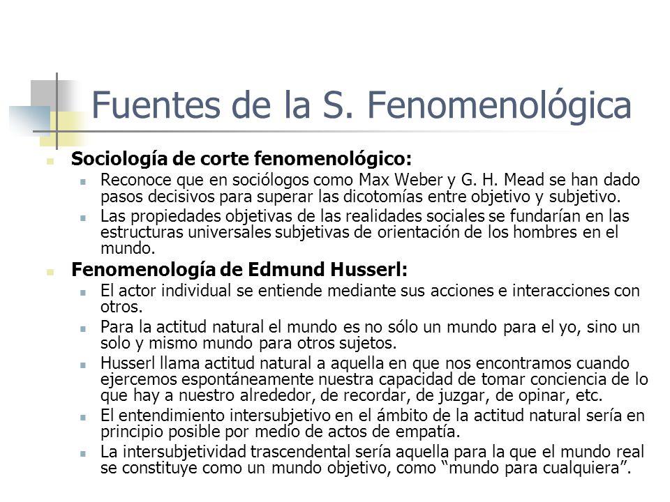 Fuentes de la S. Fenomenológica Sociología de corte fenomenológico: Reconoce que en sociólogos como Max Weber y G. H. Mead se han dado pasos decisivos