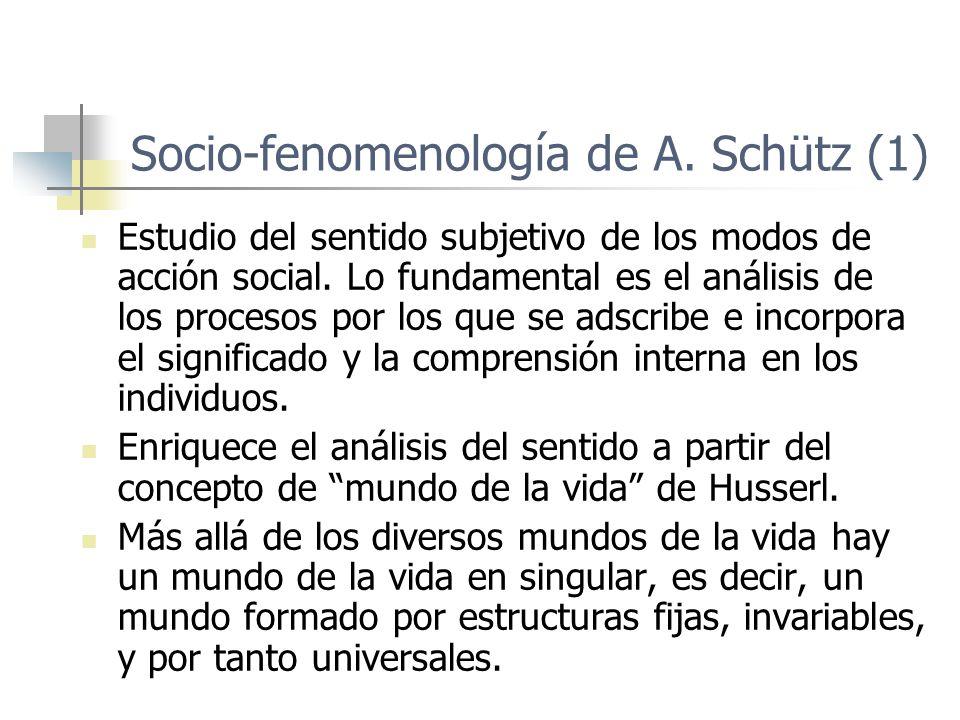 Socio-fenomenología de A. Schütz (1) Estudio del sentido subjetivo de los modos de acción social. Lo fundamental es el análisis de los procesos por lo