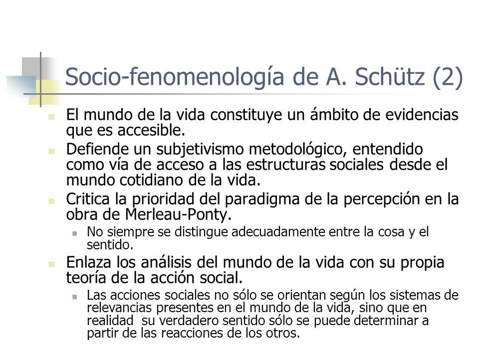 Socio-fenomenología de A. Schütz (2) El mundo de la vida constituye un ámbito de evidencias que es accesible. Defiende un subjetivismo metodológico, e