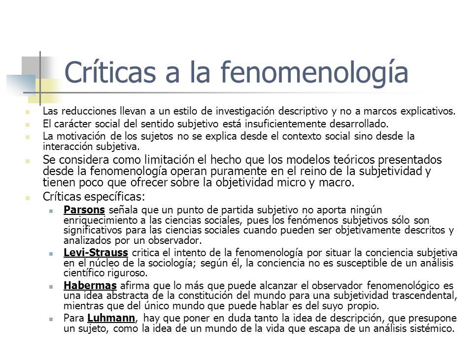 Críticas a la fenomenología Las reducciones llevan a un estilo de investigación descriptivo y no a marcos explicativos. El carácter social del sentido