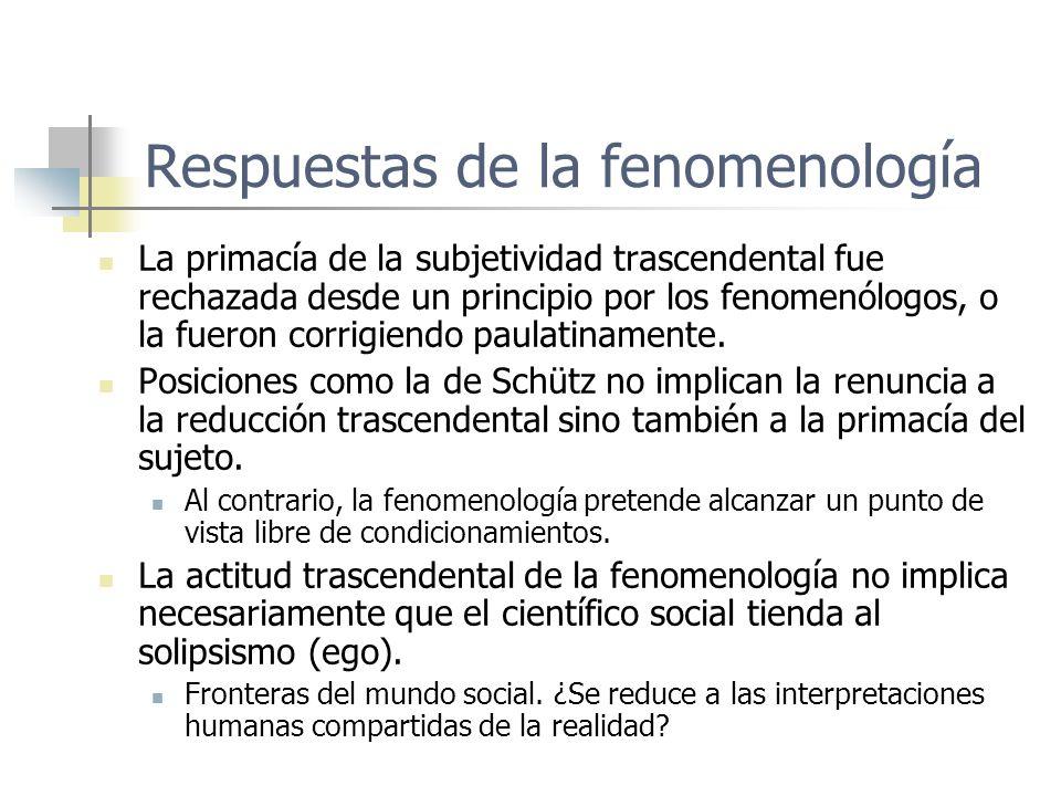 Respuestas de la fenomenología La primacía de la subjetividad trascendental fue rechazada desde un principio por los fenomenólogos, o la fueron corrig