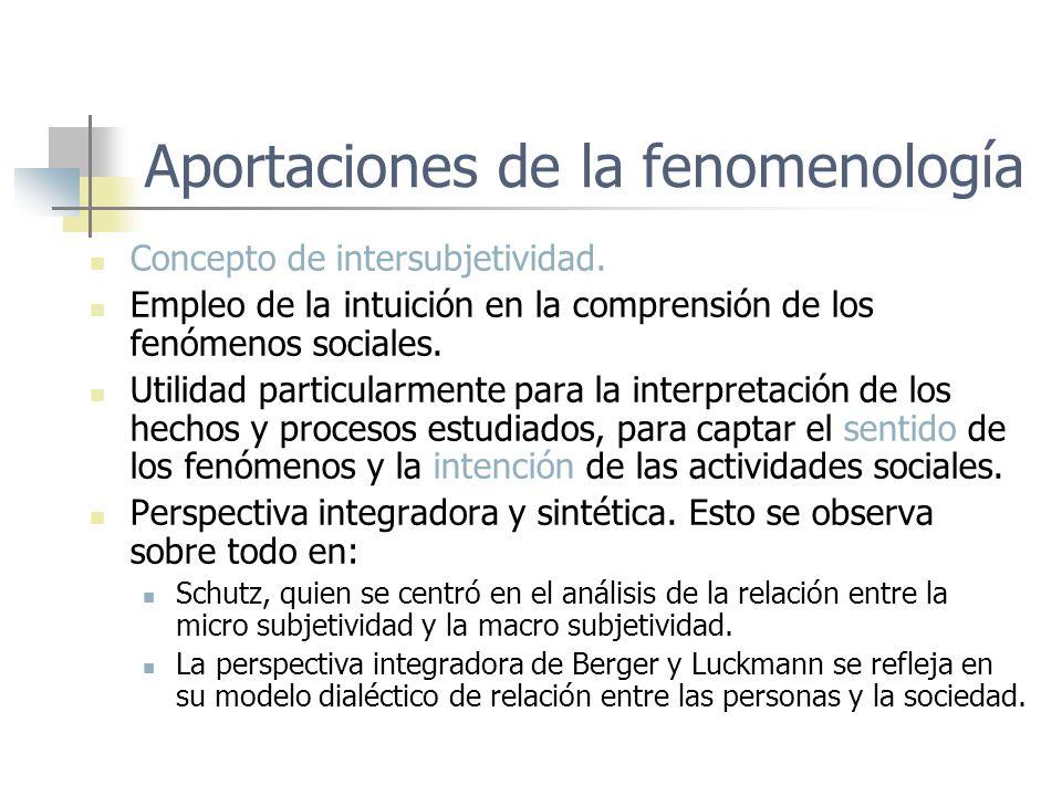 Aportaciones de la fenomenología Concepto de intersubjetividad. Empleo de la intuición en la comprensión de los fenómenos sociales. Utilidad particula
