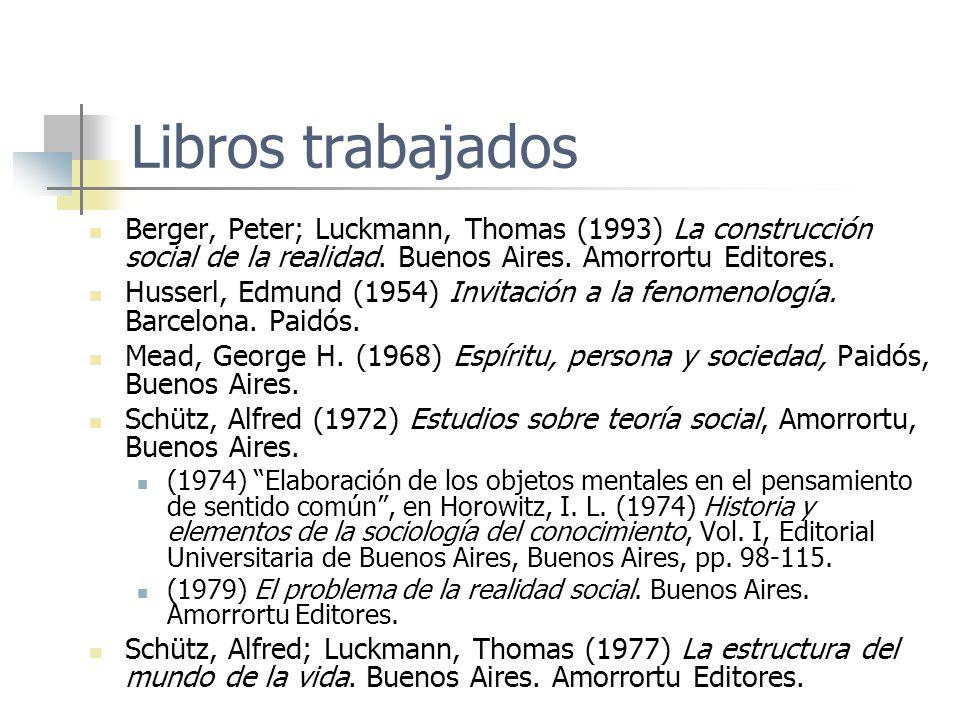 Libros trabajados Berger, Peter; Luckmann, Thomas (1993) La construcción social de la realidad. Buenos Aires. Amorrortu Editores. Husserl, Edmund (195