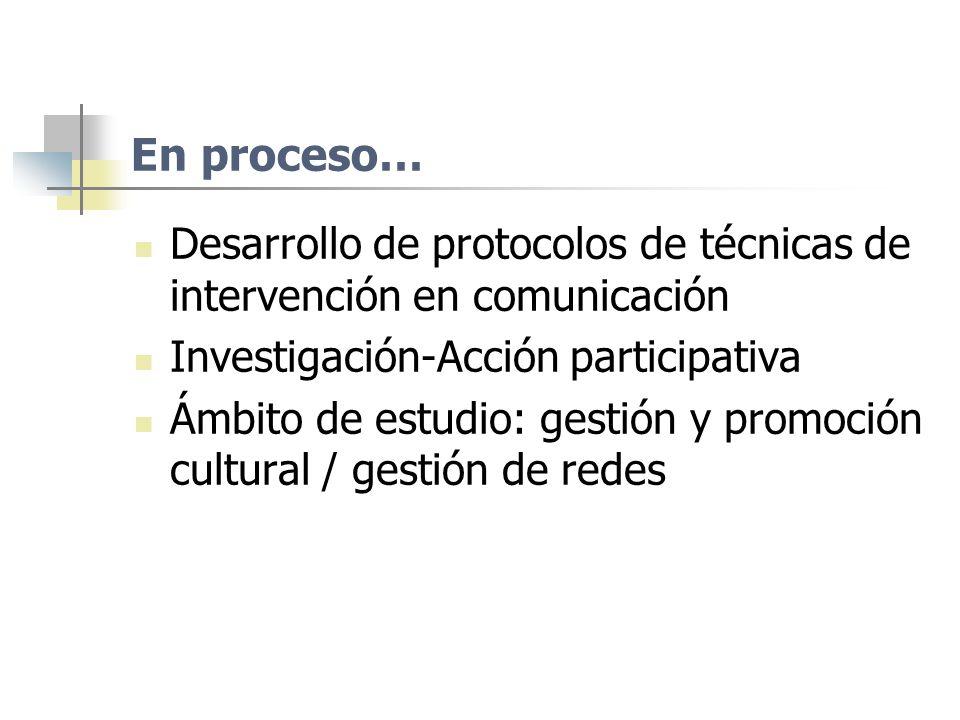 En proceso… Desarrollo de protocolos de técnicas de intervención en comunicación Investigación-Acción participativa Ámbito de estudio: gestión y promo