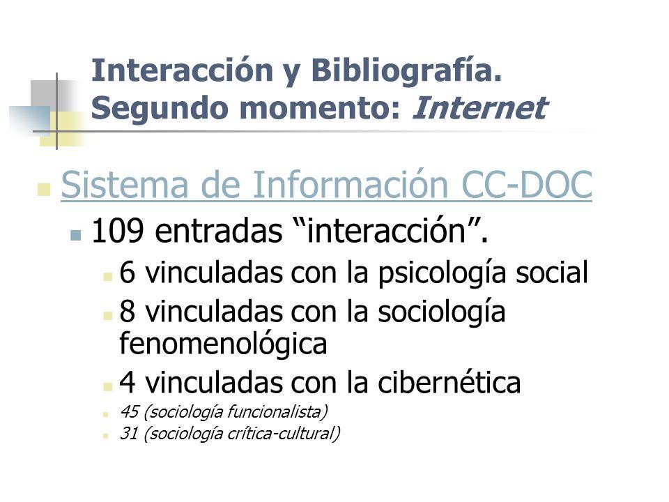 Interacción y Bibliografía. Segundo momento: Internet Sistema de Información CC-DOC 109 entradas interacción. 6 vinculadas con la psicología social 8