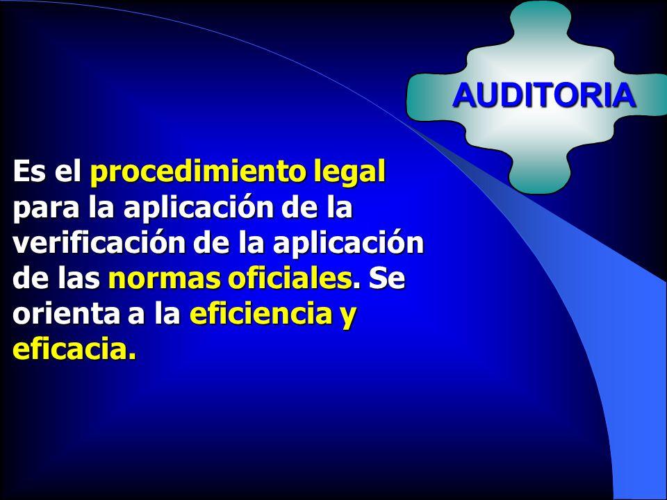 AUDITORIA Es el procedimiento legal para la aplicación de la verificación de la aplicación de las normas oficiales. Se orienta a la eficiencia y efica