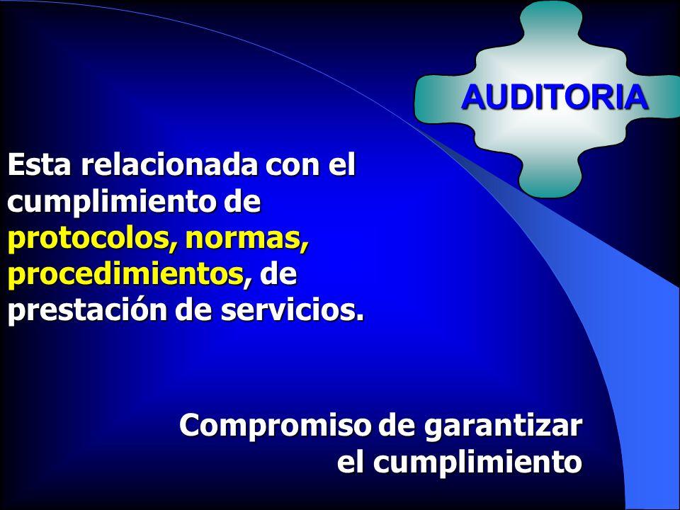 AUDITORIA Esta relacionada con el cumplimiento de protocolos, normas, procedimientos, de prestación de servicios. Compromiso de garantizar el cumplimi