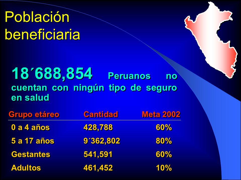 Población beneficiaria 18´688,854 Peruanos no cuentan con ningún tipo de seguro en salud 0 a 4 años428,78860% 5 a 17 años9´362,80280% Gestantes541,591