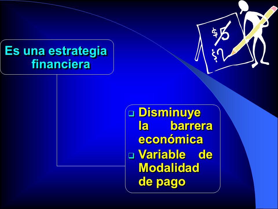 Es una estrategia financiera Variable de Modalidad de pago Disminuye la barrera económica