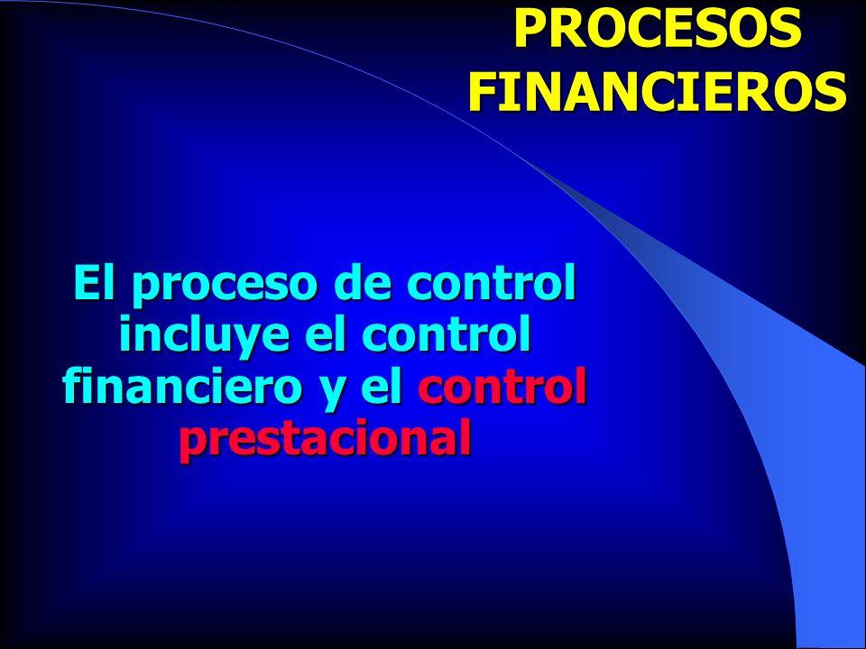 PROCESOS FINANCIEROS El proceso de control incluye el control financiero y el control prestacional