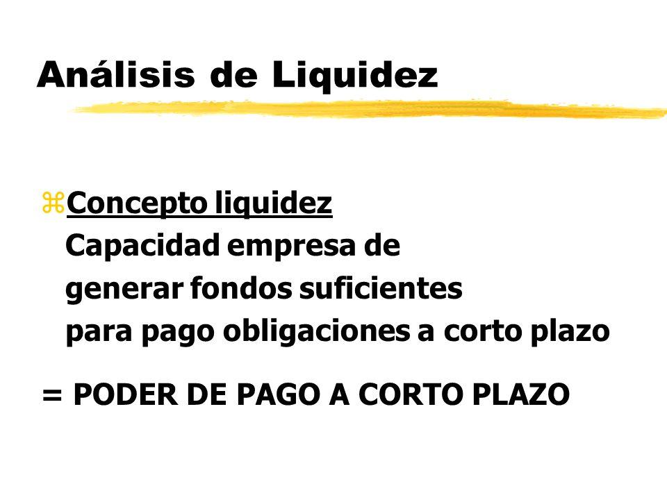 Análisis de Liquidez zConcepto liquidez Capacidad empresa de generar fondos suficientes para pago obligaciones a corto plazo = PODER DE PAGO A CORTO P