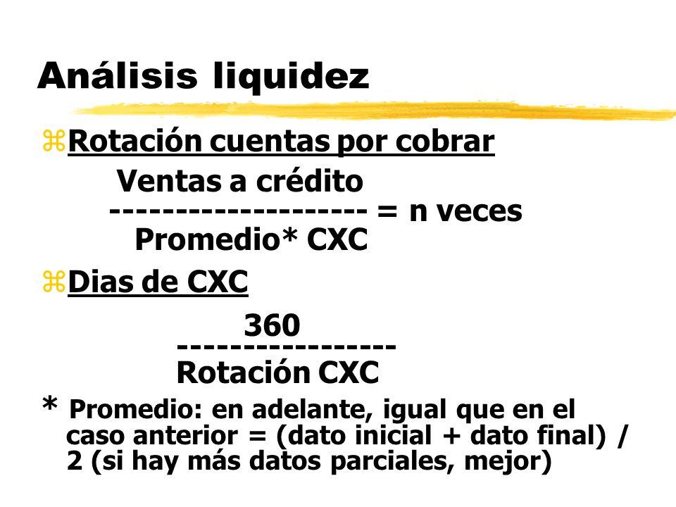 Análisis liquidez zRotación cuentas por cobrar Ventas a crédito -------------------- = n veces Promedio* CXC zDias de CXC 360 ----------------- Rotaci