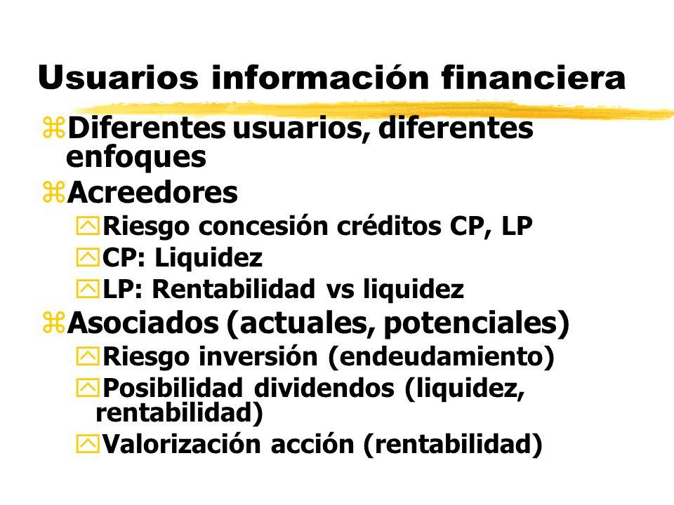 Usuarios información financiera zDiferentes usuarios, diferentes enfoques zAcreedores yRiesgo concesión créditos CP, LP yCP: Liquidez yLP: Rentabilida