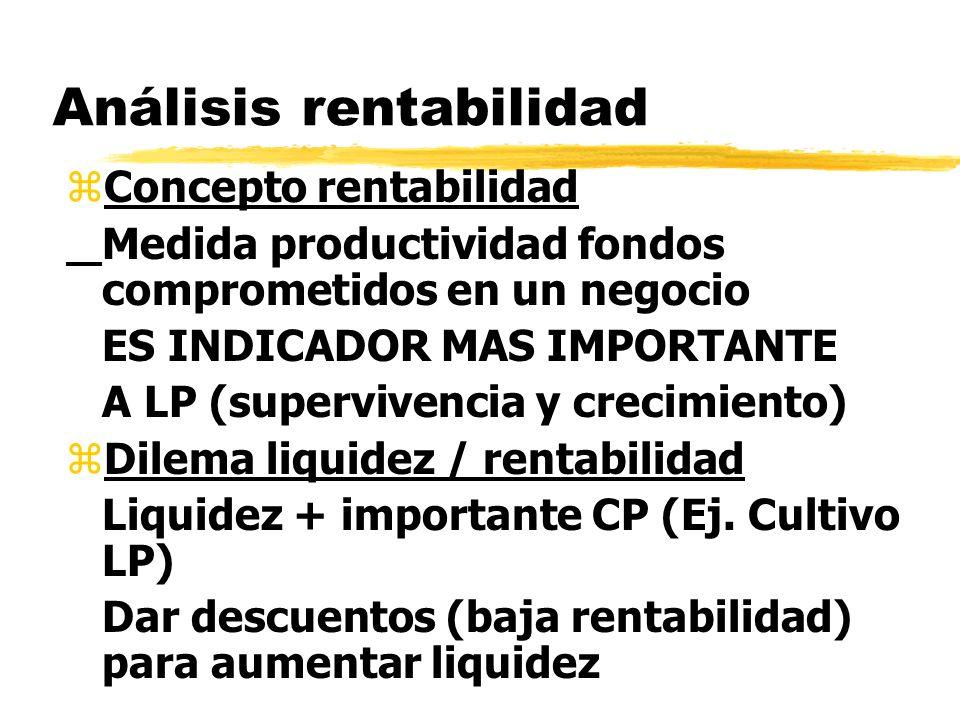Análisis rentabilidad zConcepto rentabilidad Medida productividad fondos comprometidos en un negocio ES INDICADOR MAS IMPORTANTE A LP (supervivencia y