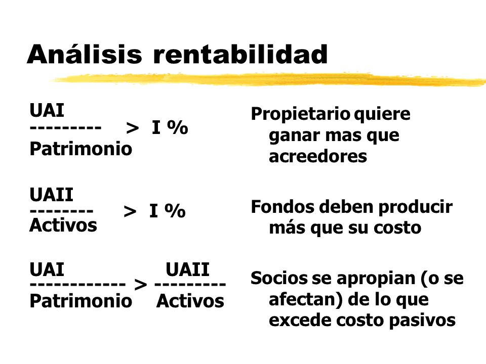 Análisis rentabilidad UAI --------- > I % Patrimonio UAII -------- > I % Activos UAI UAII ------------ > --------- Patrimonio Activos Propietario quie