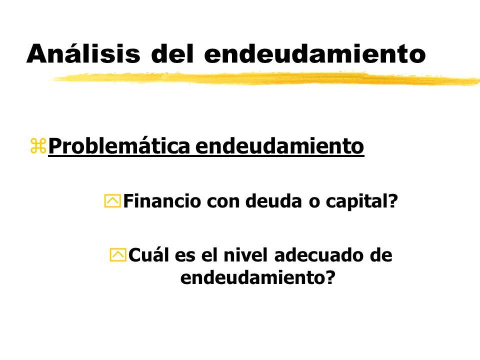Análisis del endeudamiento zProblemática endeudamiento yFinancio con deuda o capital? yCuál es el nivel adecuado de endeudamiento?