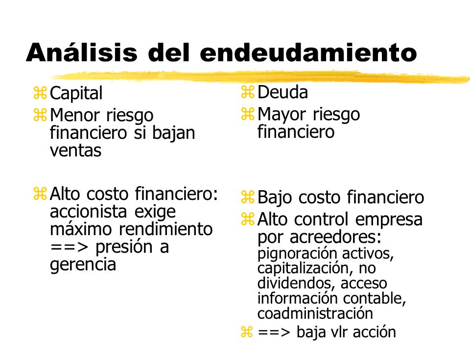 Análisis del endeudamiento zCapital zMenor riesgo financiero si bajan ventas zAlto costo financiero: accionista exige máximo rendimiento ==> presión a