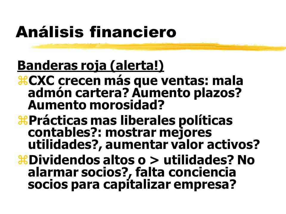 Análisis financiero Banderas roja (alerta!) zCXC crecen más que ventas: mala admón cartera? Aumento plazos? Aumento morosidad? zPrácticas mas liberale