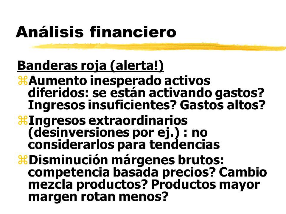Análisis financiero Banderas roja (alerta!) zAumento inesperado activos diferidos: se están activando gastos? Ingresos insuficientes? Gastos altos? zI