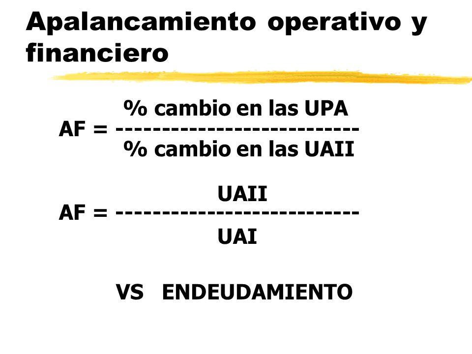 Apalancamiento operativo y financiero % cambio en las UPA AF = --------------------------- % cambio en las UAII UAII AF = ---------------------------