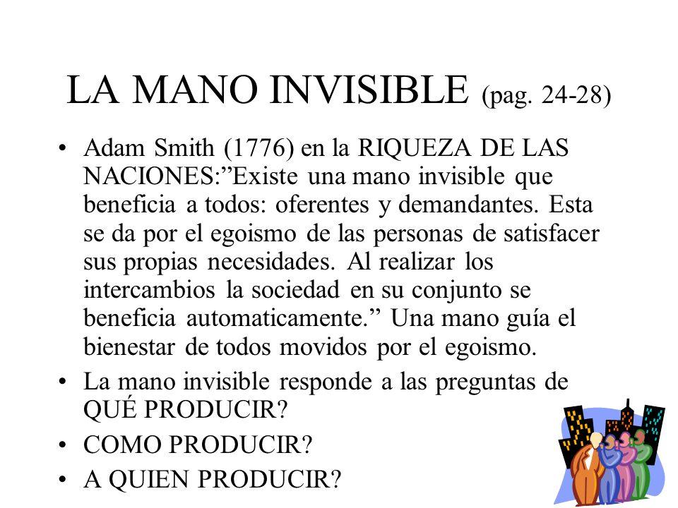 LA MANO INVISIBLE (pag. 24-28) Adam Smith (1776) en la RIQUEZA DE LAS NACIONES:Existe una mano invisible que beneficia a todos: oferentes y demandante