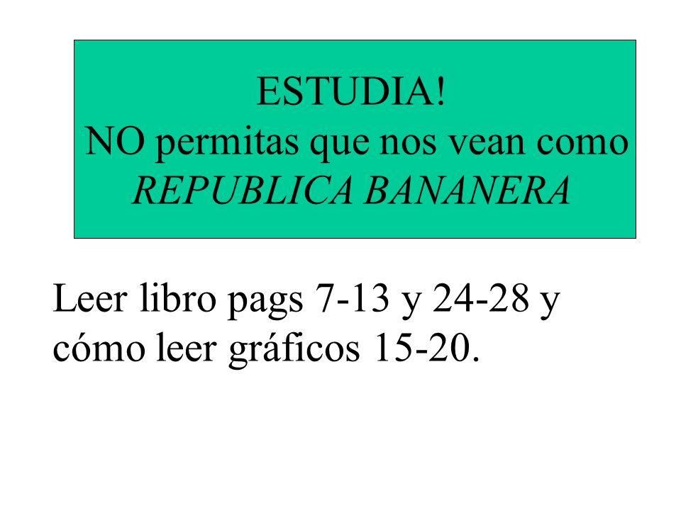 ESTUDIA! NO permitas que nos vean como REPUBLICA BANANERA Leer libro pags 7-13 y 24-28 y cómo leer gráficos 15-20.
