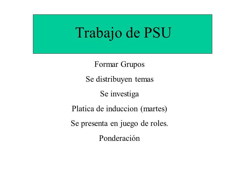 Trabajo de PSU Formar Grupos Se distribuyen temas Se investiga Platica de induccion (martes) Se presenta en juego de roles. Ponderación