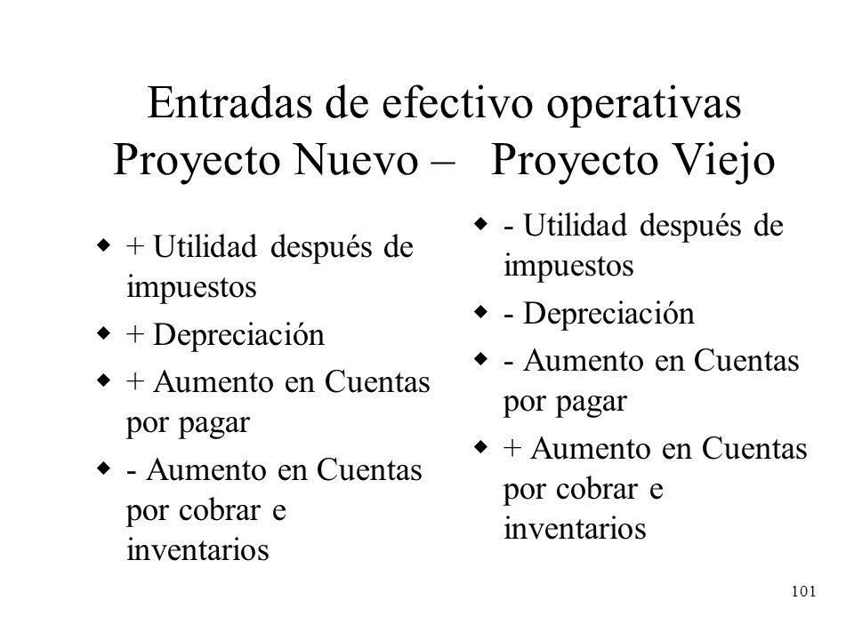 101 Entradas de efectivo operativas Proyecto Nuevo – Proyecto Viejo + Utilidad después de impuestos + Depreciación + Aumento en Cuentas por pagar - Au