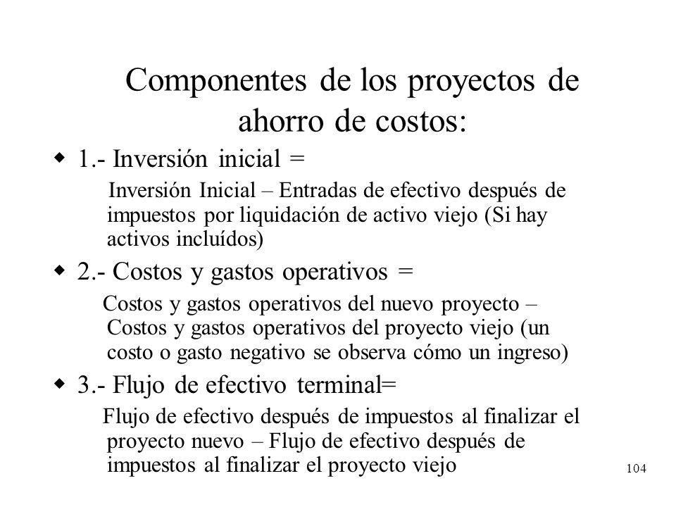 104 Componentes de los proyectos de ahorro de costos: 1.- Inversión inicial = Inversión Inicial – Entradas de efectivo después de impuestos por liquid