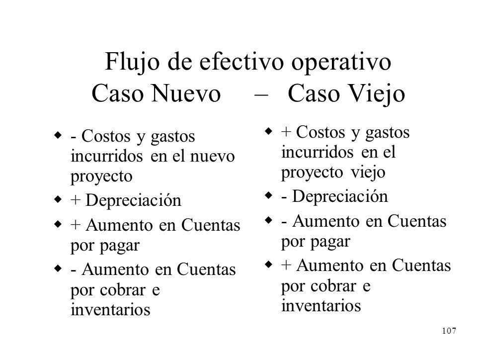 107 Flujo de efectivo operativo Caso Nuevo – Caso Viejo - Costos y gastos incurridos en el nuevo proyecto + Depreciación + Aumento en Cuentas por paga