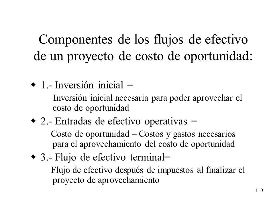 110 Componentes de los flujos de efectivo de un proyecto de costo de oportunidad: 1.- Inversión inicial = Inversión inicial necesaria para poder aprov