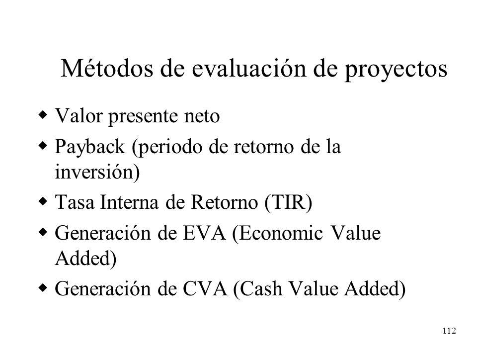 112 Métodos de evaluación de proyectos Valor presente neto Payback (periodo de retorno de la inversión) Tasa Interna de Retorno (TIR) Generación de EV