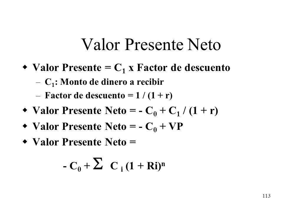 113 Valor Presente Neto Valor Presente = C 1 x Factor de descuento – C 1 : Monto de dinero a recibir – Factor de descuento = 1 / (1 + r) Valor Present