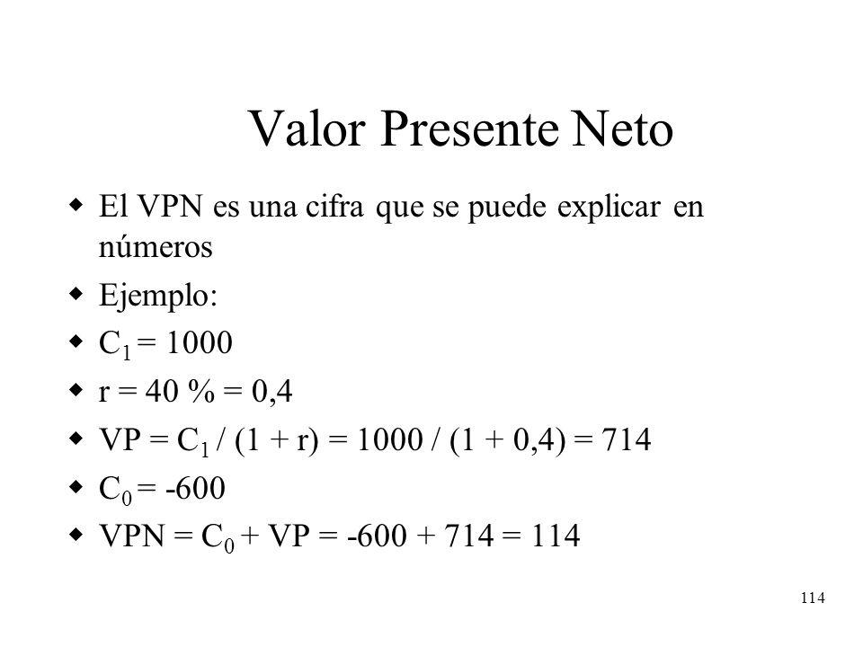 114 Valor Presente Neto El VPN es una cifra que se puede explicar en números Ejemplo: C 1 = 1000 r = 40 % = 0,4 VP = C 1 / (1 + r) = 1000 / (1 + 0,4)