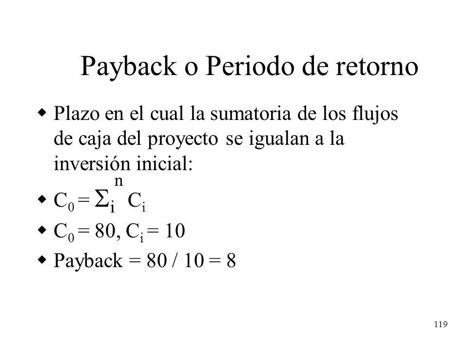 119 Payback o Periodo de retorno Plazo en el cual la sumatoria de los flujos de caja del proyecto se igualan a la inversión inicial: C 0 = i n C i C 0
