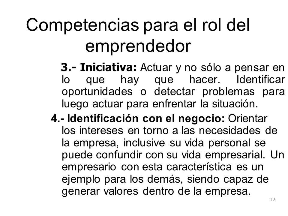 12 Competencias para el rol del emprendedor 3.- Iniciativa: A ctuar y no sólo a pensar en lo que hay que hacer. Identificar oportunidades o detectar p