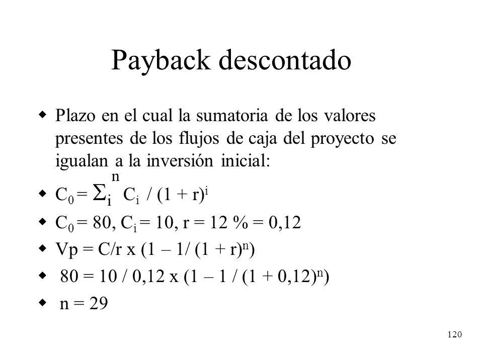 120 Payback descontado Plazo en el cual la sumatoria de los valores presentes de los flujos de caja del proyecto se igualan a la inversión inicial: C