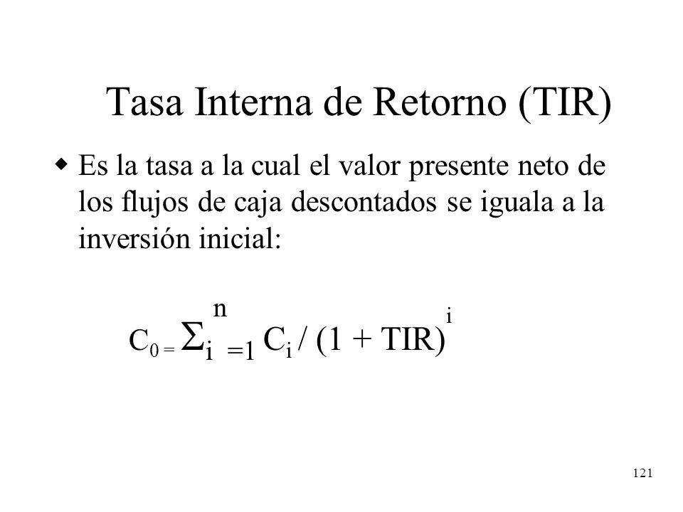 121 Tasa Interna de Retorno (TIR) Es la tasa a la cual el valor presente neto de los flujos de caja descontados se iguala a la inversión inicial: C 0