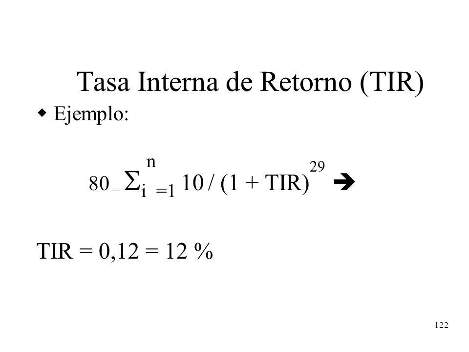 122 Tasa Interna de Retorno (TIR) Ejemplo: 80 = i n =1 10 / (1 + TIR) 29 TIR = 0,12 = 12 %