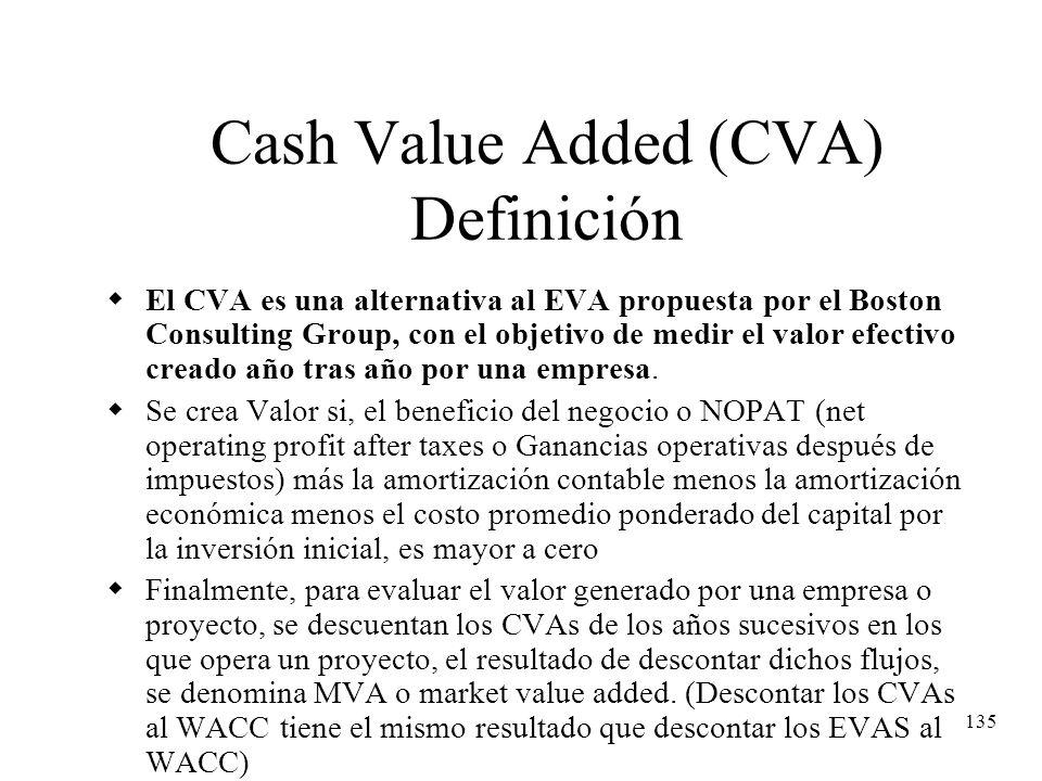 135 Cash Value Added (CVA) Definición El CVA es una alternativa al EVA propuesta por el Boston Consulting Group, con el objetivo de medir el valor efe