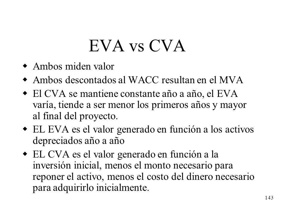 143 EVA vs CVA Ambos miden valor Ambos descontados al WACC resultan en el MVA El CVA se mantiene constante año a año, el EVA varía, tiende a ser menor