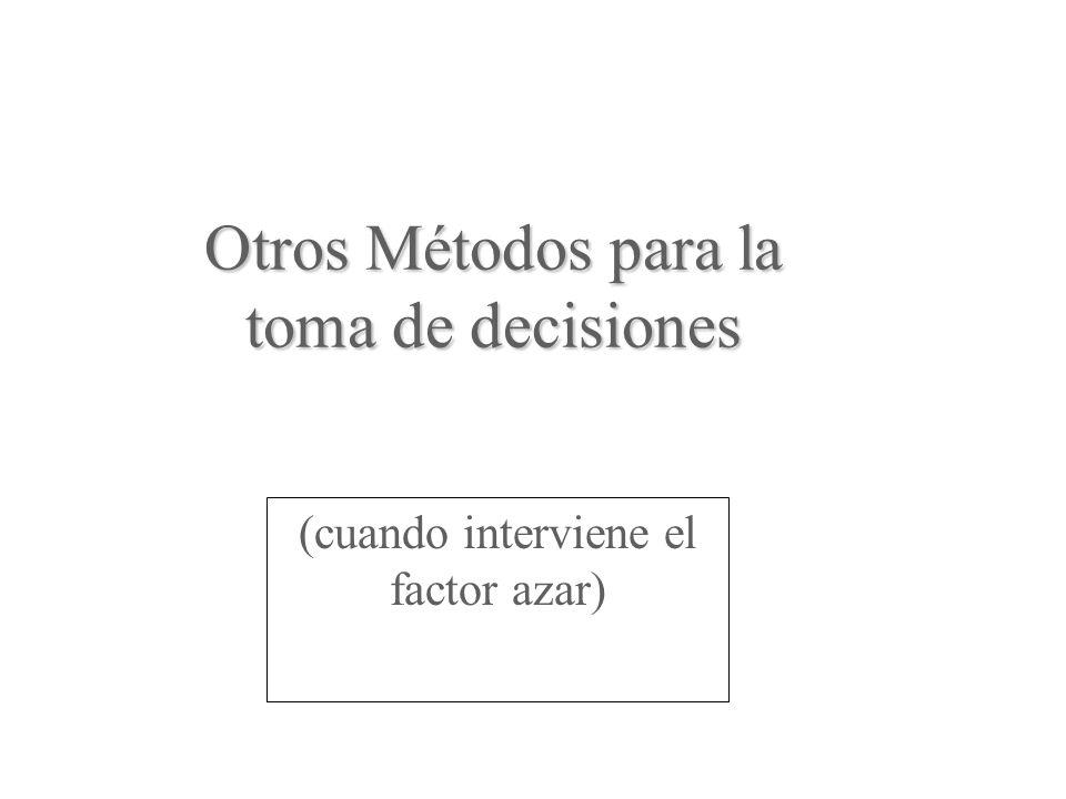 Otros Métodos para la toma de decisiones (cuando interviene el factor azar)
