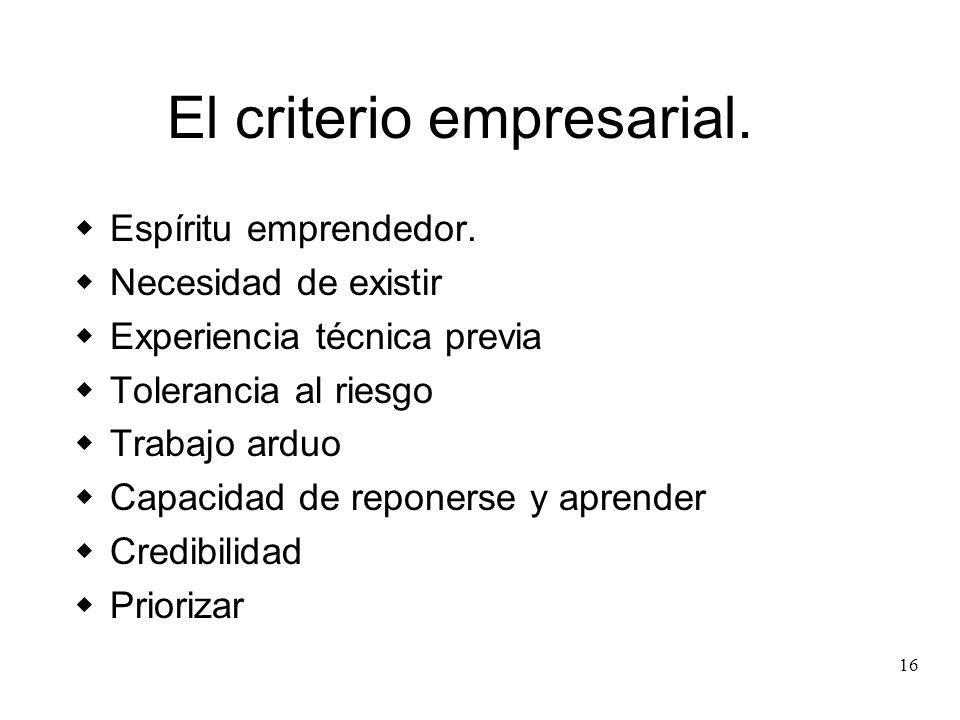 16 El criterio empresarial. Espíritu emprendedor. Necesidad de existir Experiencia técnica previa Tolerancia al riesgo Trabajo arduo Capacidad de repo