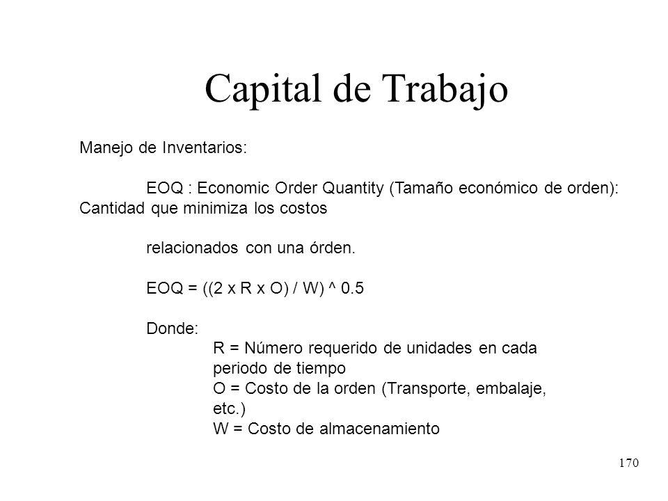 170 Capital de Trabajo Manejo de Inventarios: EOQ : Economic Order Quantity (Tamaño económico de orden): Cantidad que minimiza los costos relacionados