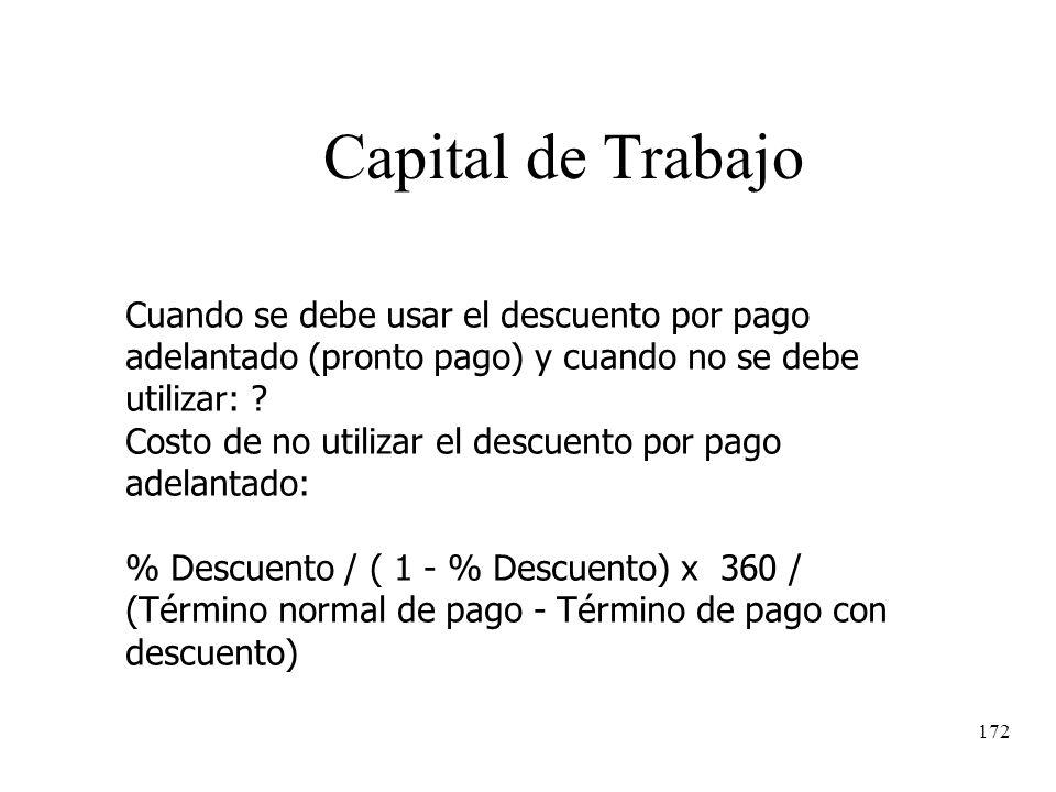 172 Capital de Trabajo Cuando se debe usar el descuento por pago adelantado (pronto pago) y cuando no se debe utilizar: ? Costo de no utilizar el desc