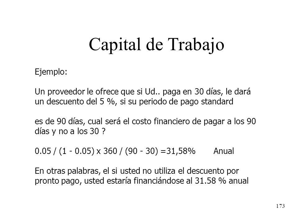 173 Capital de Trabajo Ejemplo: Un proveedor le ofrece que si Ud.. paga en 30 días, le dará un descuento del 5 %, si su periodo de pago standard es de