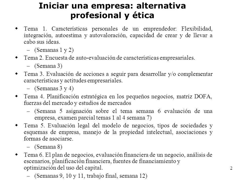 2 Tema 1. Características personales de un emprendedor: Flexibilidad, integración, autoestima y autovaloración, capacidad de crear y de llevar a cabo