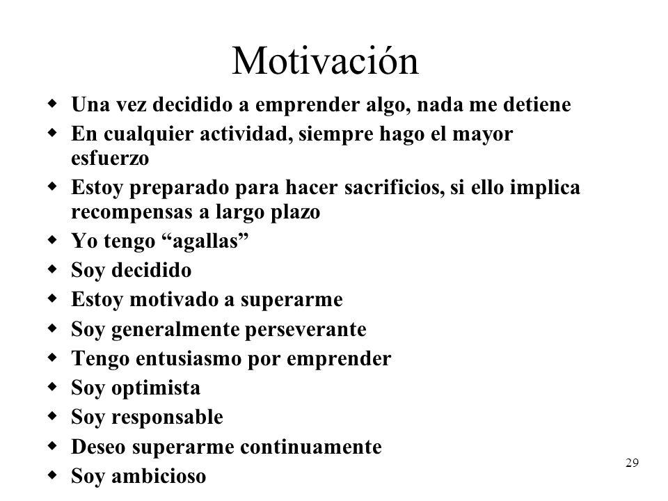29 Motivación Una vez decidido a emprender algo, nada me detiene En cualquier actividad, siempre hago el mayor esfuerzo Estoy preparado para hacer sac