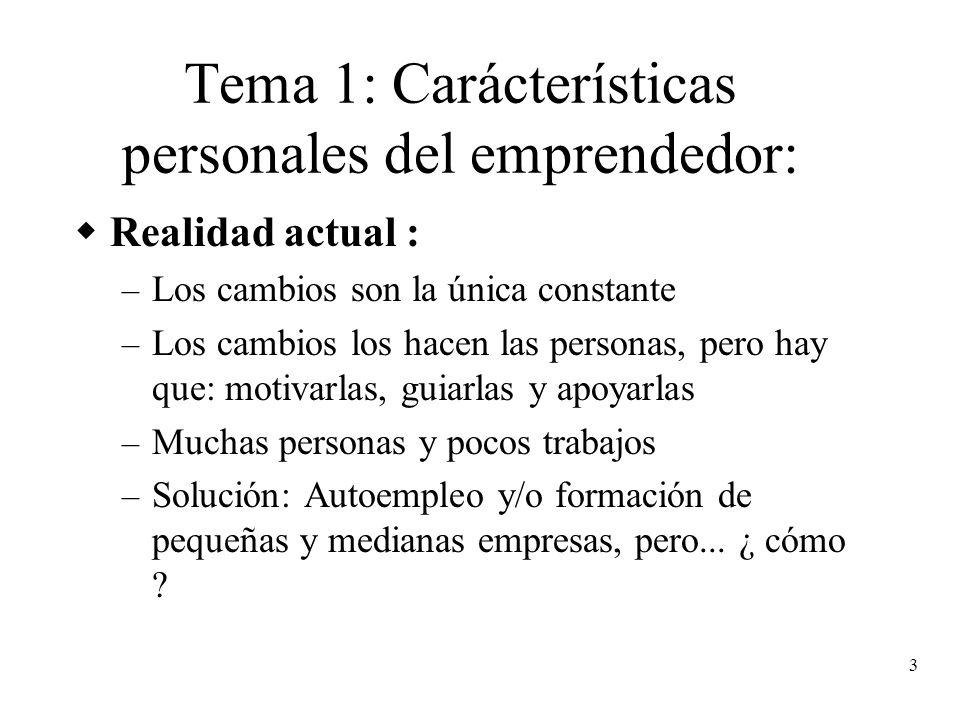 3 Tema 1: Carácterísticas personales del emprendedor: Realidad actual : – Los cambios son la única constante – Los cambios los hacen las personas, per